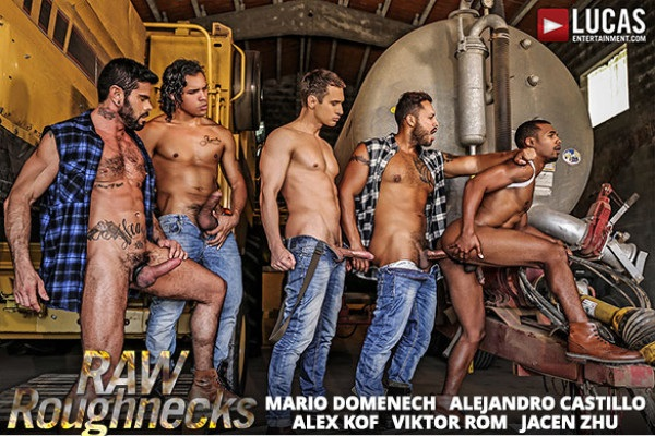 LucasEntertainment - Raw Roughnecks - Jacen Zhu bottoms for Alejandro Castillo, Alex Kof, Mario Domenech and Viktor Rom