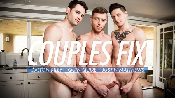 Photo of Couples Fix – Justin Matthews flip fucks raw with Dalton Riley & Quin Quire